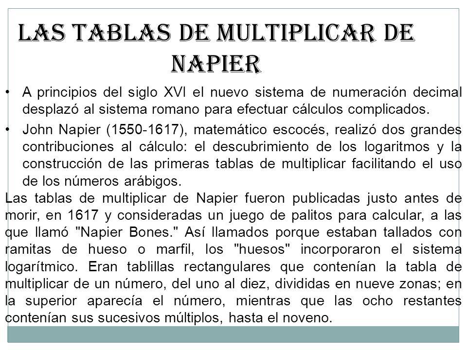 LAS TABLAS DE MULTIPLICAR DE NAPIER A principios del siglo XVI el nuevo sistema de numeración decimal desplazó al sistema romano para efectuar cálculo