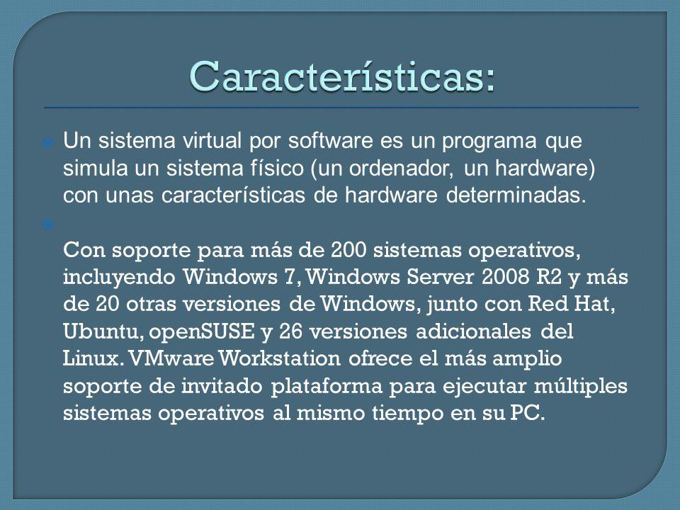 Un sistema virtual por software es un programa que simula un sistema físico (un ordenador, un hardware) con unas características de hardware determina