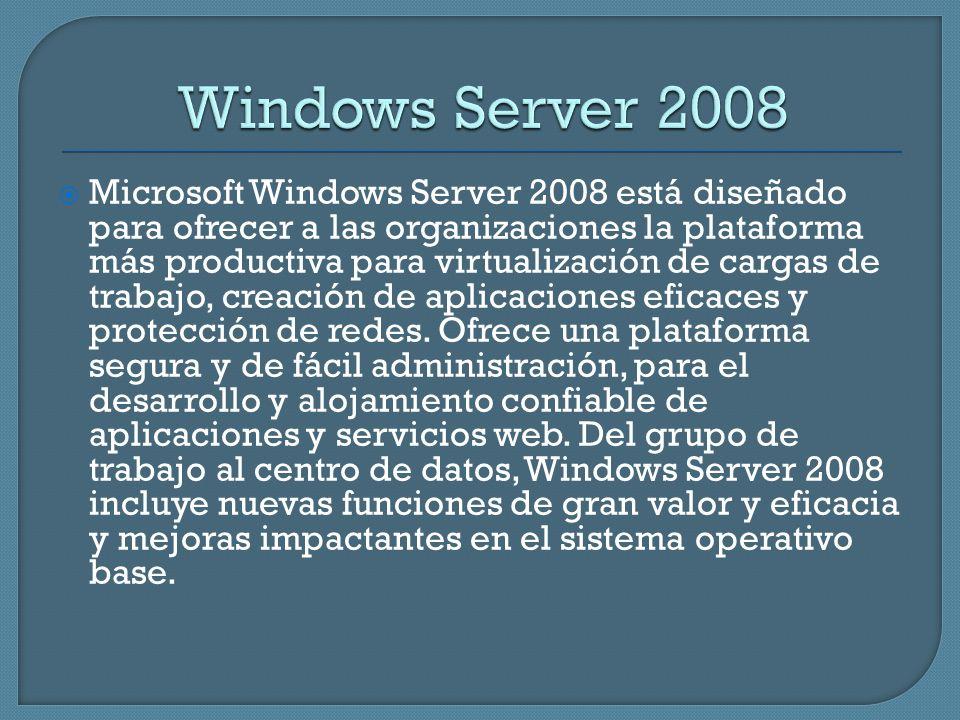 Microsoft Windows Server 2008 está diseñado para ofrecer a las organizaciones la plataforma más productiva para virtualización de cargas de trabajo, c