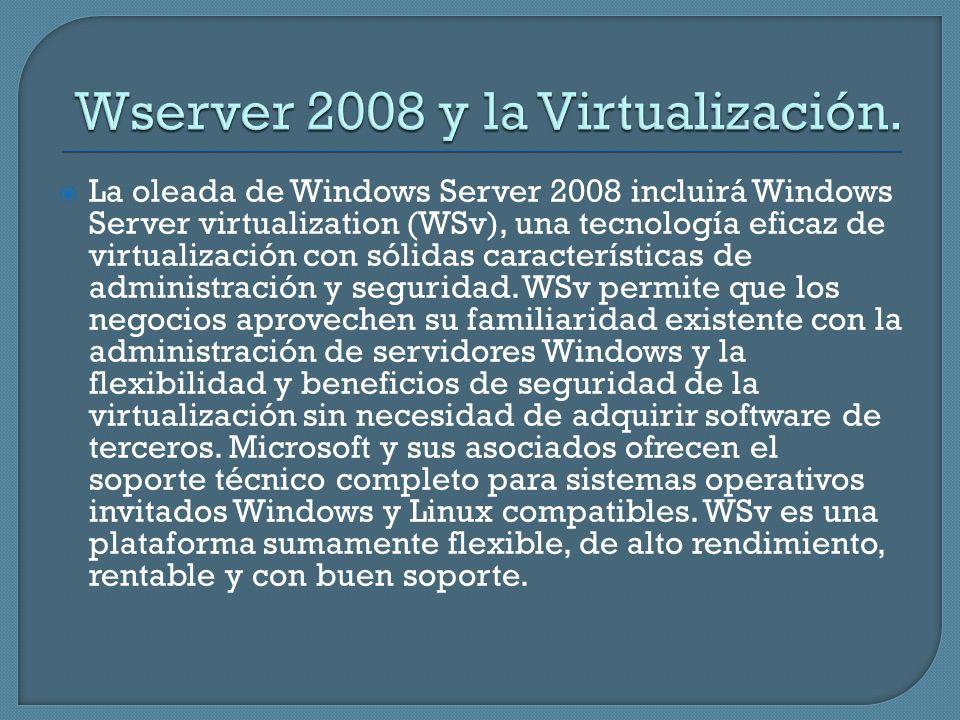 La oleada de Windows Server 2008 incluirá Windows Server virtualization (WSv), una tecnología eficaz de virtualización con sólidas características de