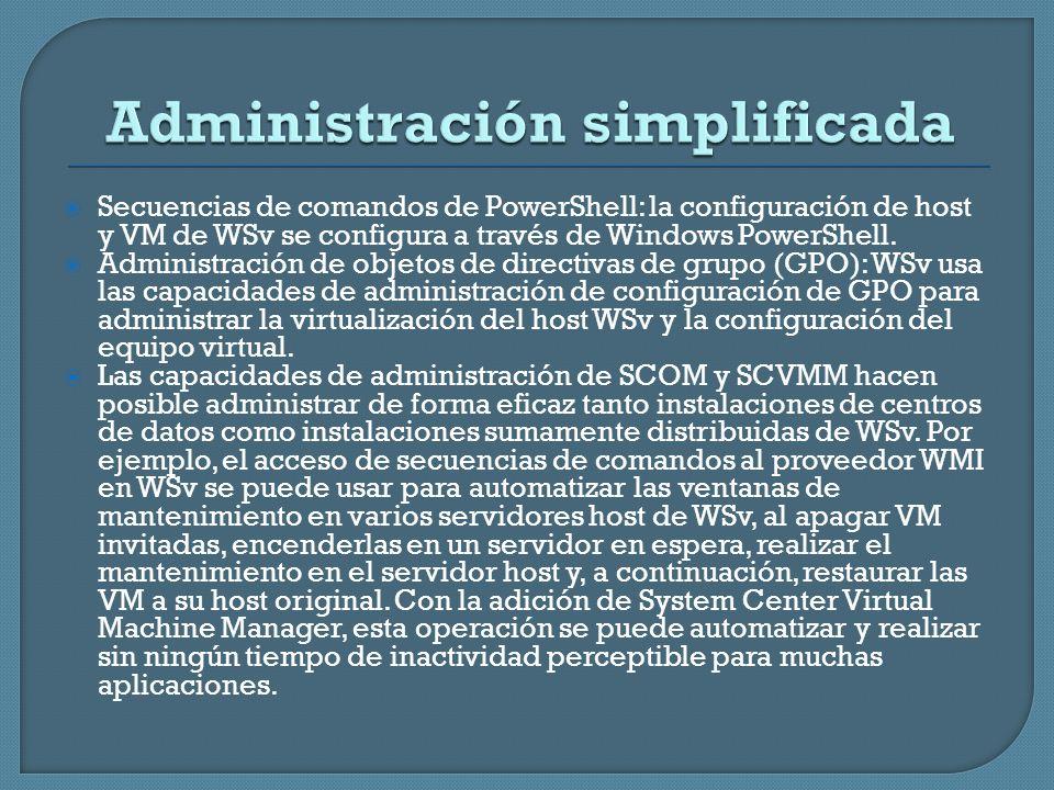 Secuencias de comandos de PowerShell: la configuración de host y VM de WSv se configura a través de Windows PowerShell. Administración de objetos de d