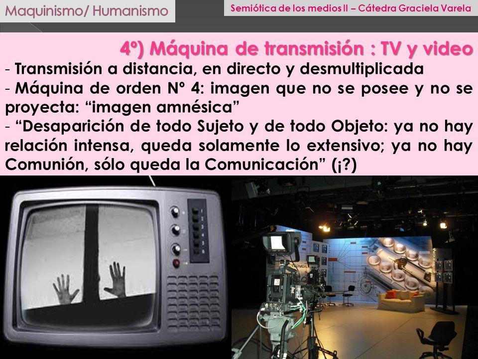 4º) Máquina de transmisión : TV y video - Transmisión a distancia, en directo y desmultiplicada - Máquina de orden Nº 4: imagen que no se posee y no s