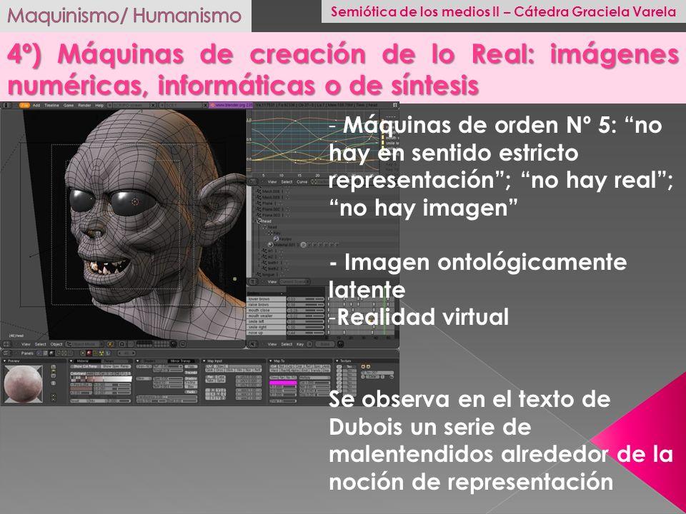 4º) Máquinas de creación de lo Real: imágenes numéricas, informáticas o de síntesis - Máquinas de orden Nº 5: no hay en sentido estricto representació