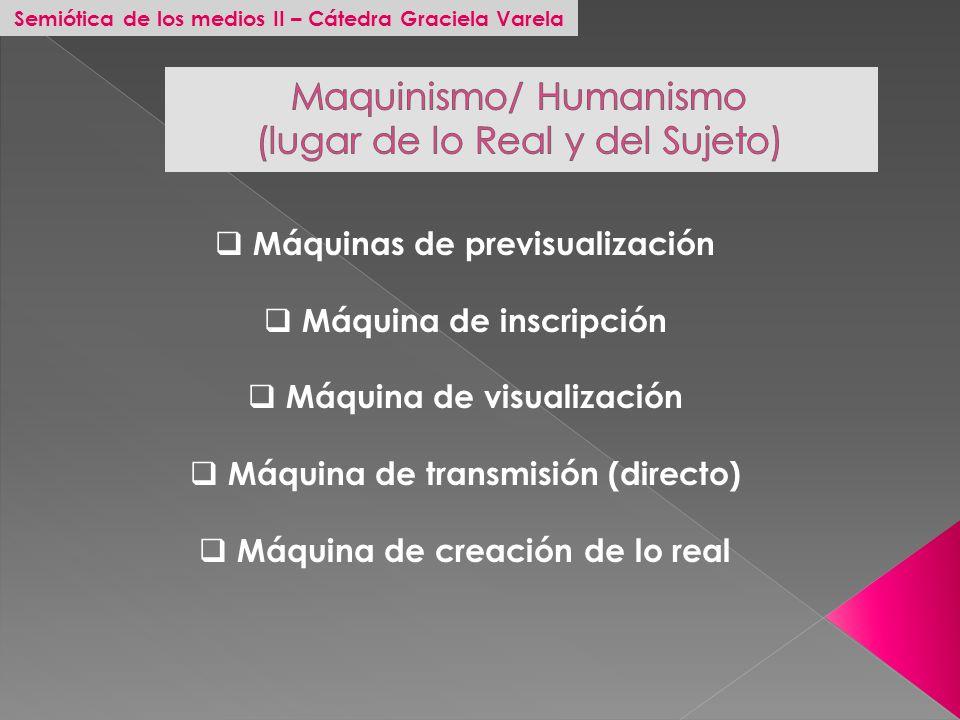 Semiótica de los medios II – Cátedra Graciela Varela Máquinas de previsualización Máquina de inscripción Máquina de visualización Máquina de transmisi