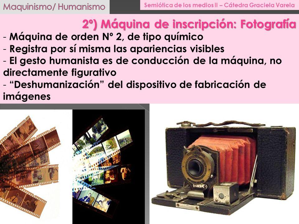 2º) Máquina de inscripción: Fotografía - Máquina de orden Nº 2, de tipo químico - Registra por sí misma las apariencias visibles - El gesto humanista
