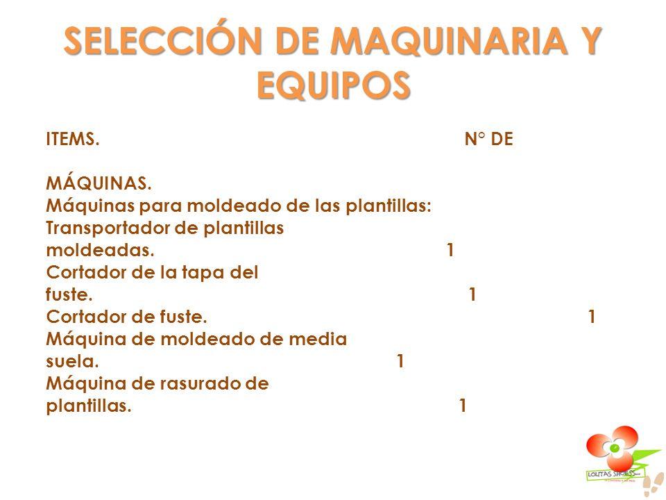 SELECCIÓN DE MAQUINARIA Y EQUIPOS ITEMS. N° DE MÁQUINAS. Máquinas para moldeado de las plantillas: Transportador de plantillas moldeadas. 1 Cortador d