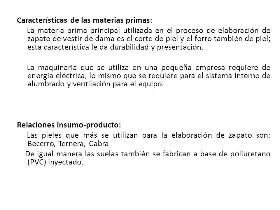 Características de las materias primas: La materia prima principal utilizada en el proceso de elaboración de zapato de vestir de dama es el corte de p