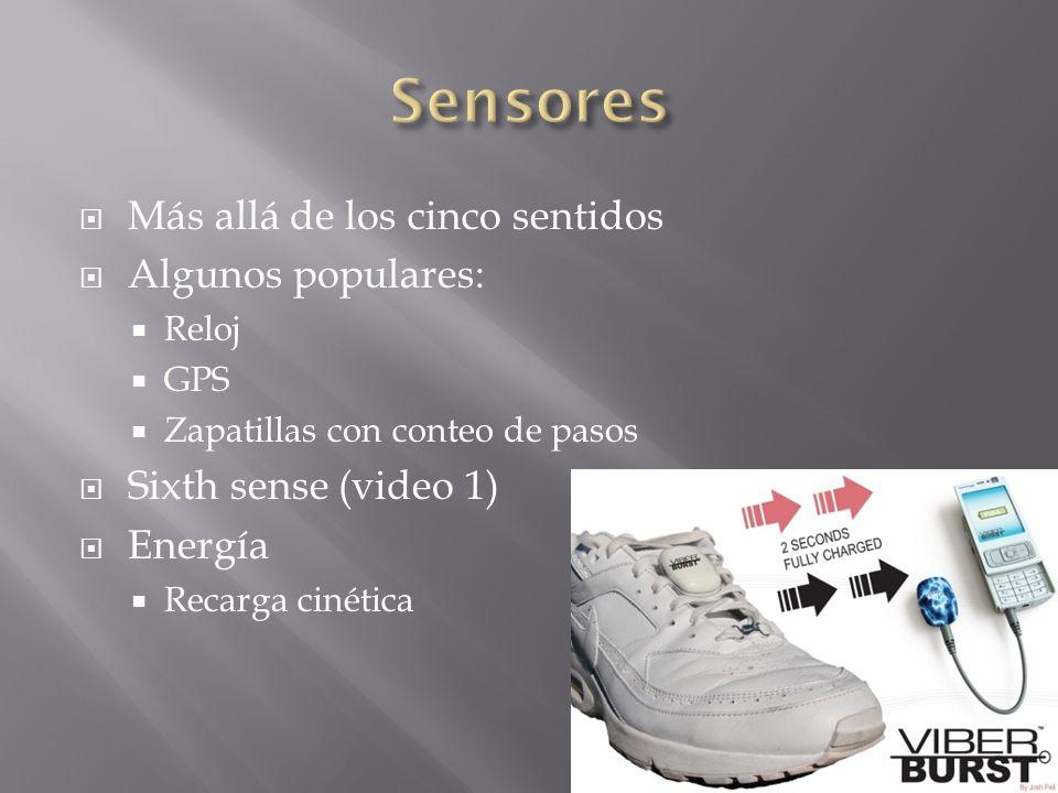 Más allá de los cinco sentidos Algunos populares: Reloj GPS Zapatillas con conteo de pasos Sixth sense (video 1) Energía Recarga cinética