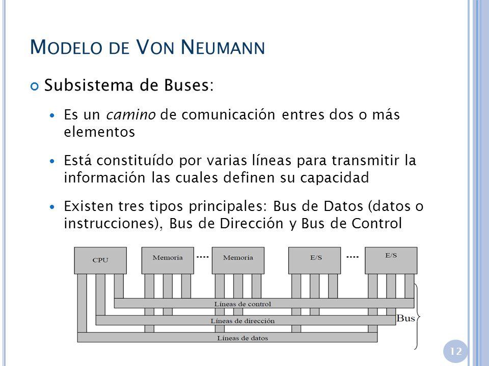 M ODELO DE V ON N EUMANN Subsistema de Buses: Es un camino de comunicación entres dos o más elementos Está constituído por varias líneas para transmit