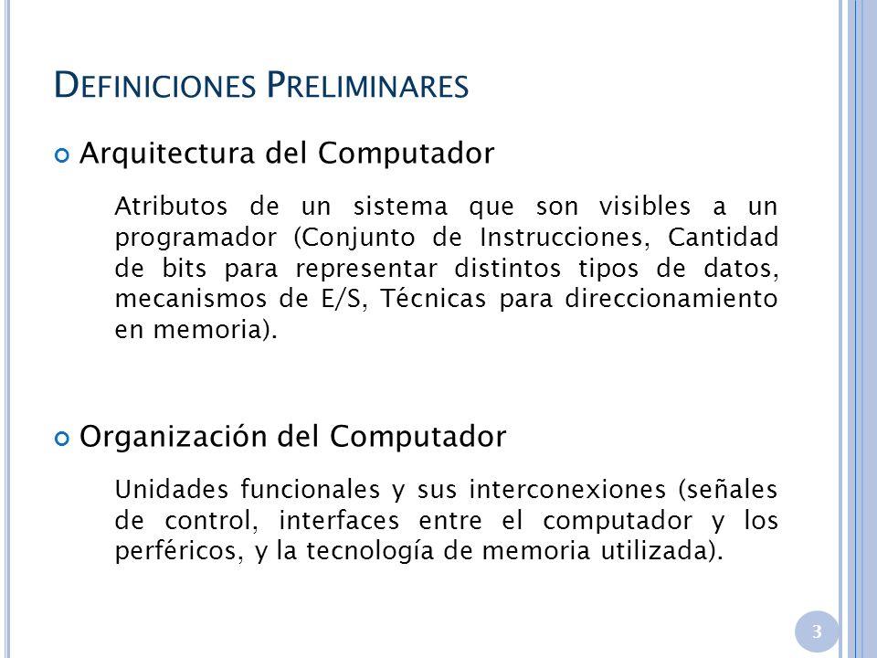 D EFINICIONES P RELIMINARES Arquitectura del Computador Atributos de un sistema que son visibles a un programador (Conjunto de Instrucciones, Cantidad