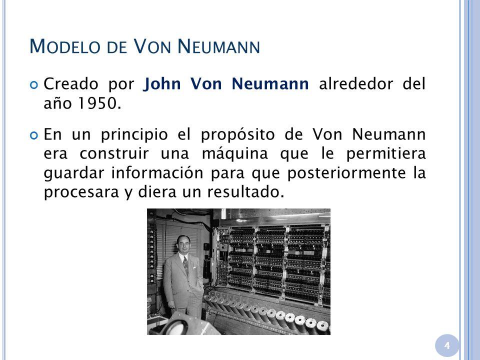 M ODELO DE V ON N EUMANN Creado por John Von Neumann alrededor del año 1950. En un principio el propósito de Von Neumann era construir una máquina que