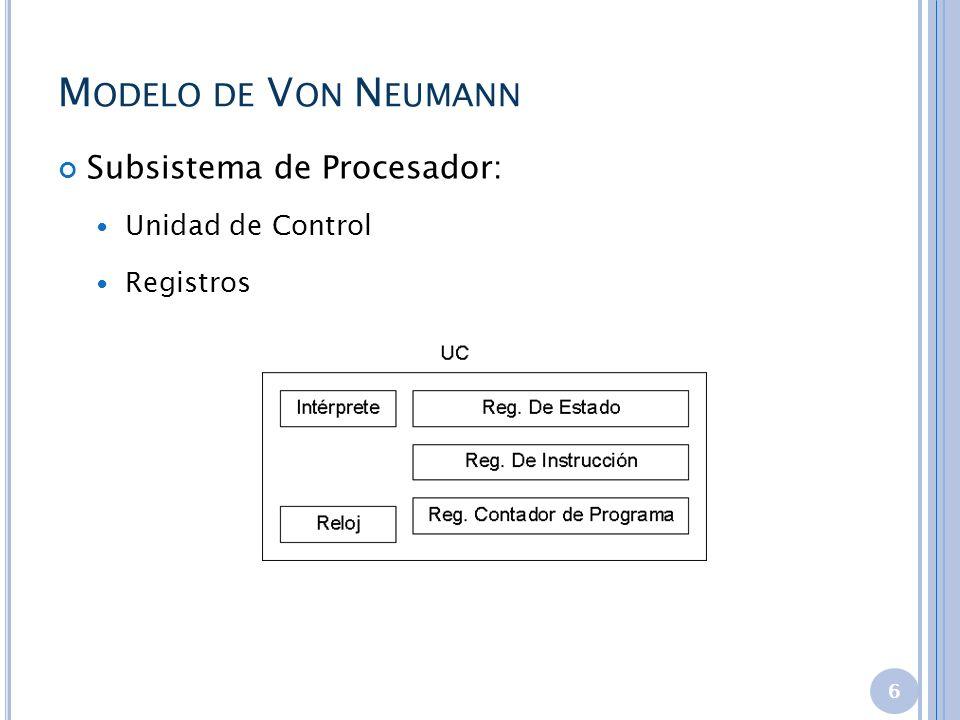 M ODELO DE V ON N EUMANN Subsistema de Procesador: Unidad de Control Registros 6