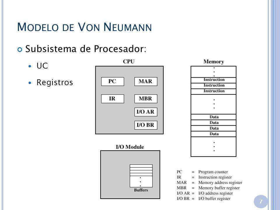 M ODELO DE V ON N EUMANN 7 Subsistema de Procesador: UC Registros