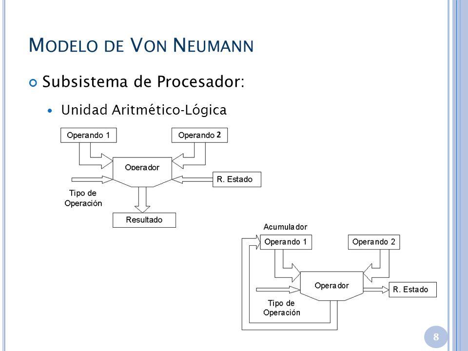 M ODELO DE V ON N EUMANN Subsistema de Procesador: Unidad Aritmético-Lógica 8 2