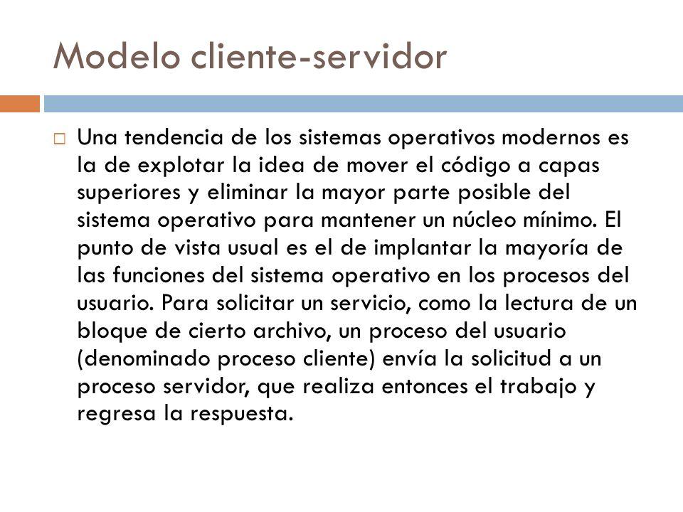 Modelo cliente-servidor Una tendencia de los sistemas operativos modernos es la de explotar la idea de mover el código a capas superiores y eliminar l