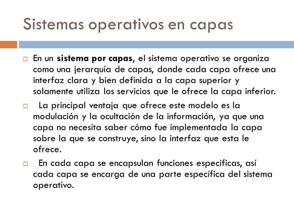 Sistemas operativos en capas En un sistema por capas, el sistema operativo se organiza como una jerarquía de capas, donde cada capa ofrece una interfa