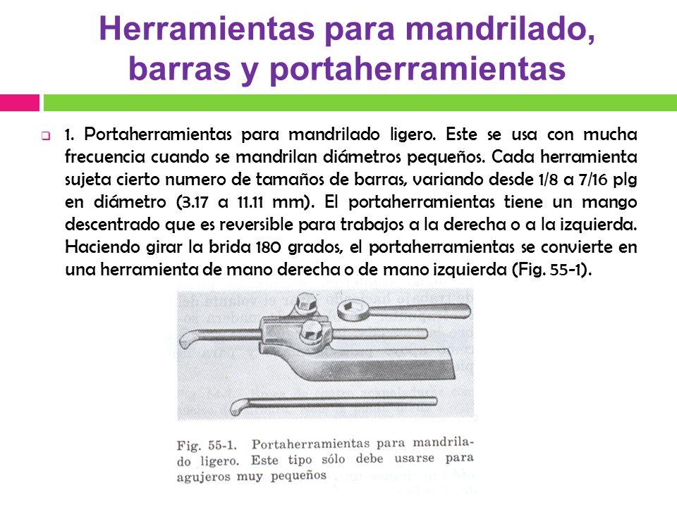 Herramientas para mandrilado, barras y portaherramientas 1. Portaherramientas para mandrilado ligero. Este se usa con mucha frecuencia cuando se mandr