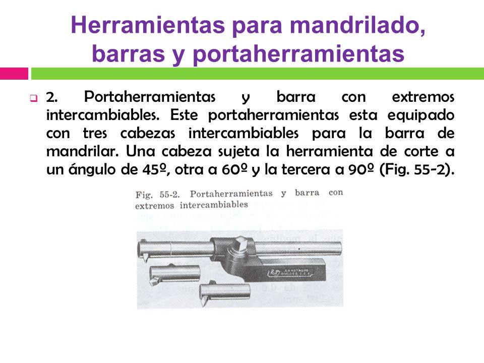 2. Portaherramientas y barra con extremos intercambiables. Este portaherramientas esta equipado con tres cabezas intercambiables para la barra de mand