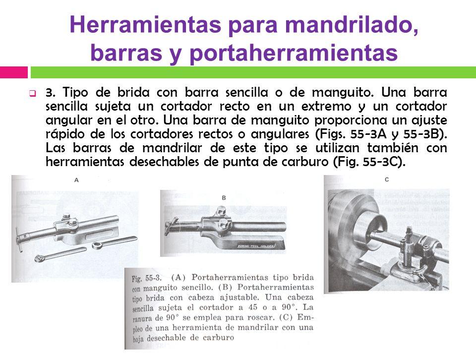 3. Tipo de brida con barra sencilla o de manguito. Una barra sencilla sujeta un cortador recto en un extremo y un cortador angular en el otro. Una bar