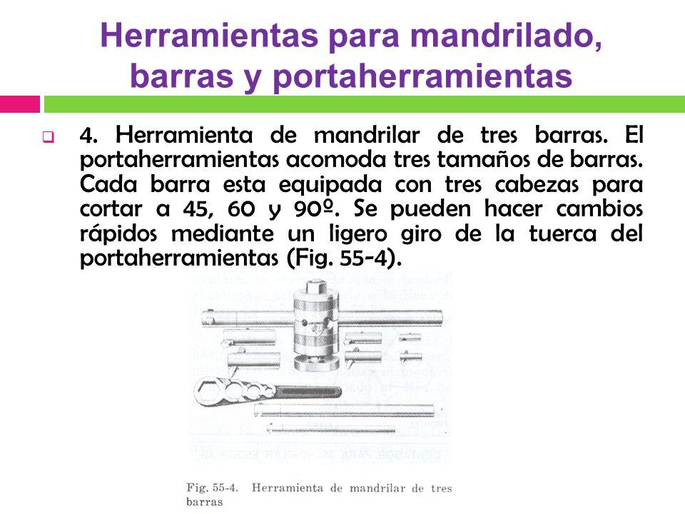 4.Herramienta de mandrilar de tres barras. El portaherramientas acomoda tres tamaños de barras.