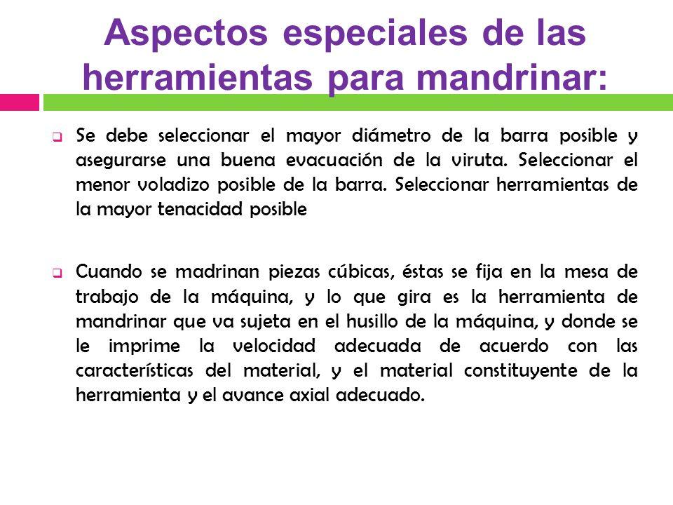 Aspectos especiales de las herramientas para mandrinar: Se debe seleccionar el mayor diámetro de la barra posible y asegurarse una buena evacuación de la viruta.