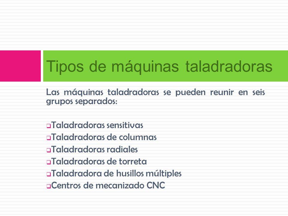 Las máquinas taladradoras se pueden reunir en seis grupos separados: Taladradoras sensitivas Taladradoras de columnas Taladradoras radiales Taladrador