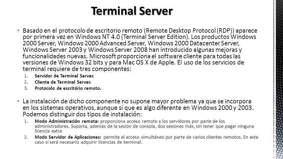 Basado en el protocolo de escritorio remoto (Remote Desktop Protocol (RDP)) aparece por primera vez en Windows NT 4.0 (Terminal Server Edition). Los p