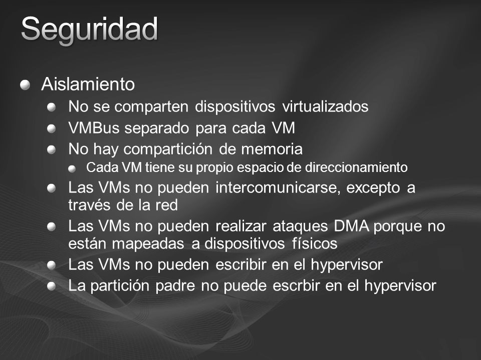 Aislamiento No se comparten dispositivos virtualizados VMBus separado para cada VM No hay compartición de memoria Cada VM tiene su propio espacio de d