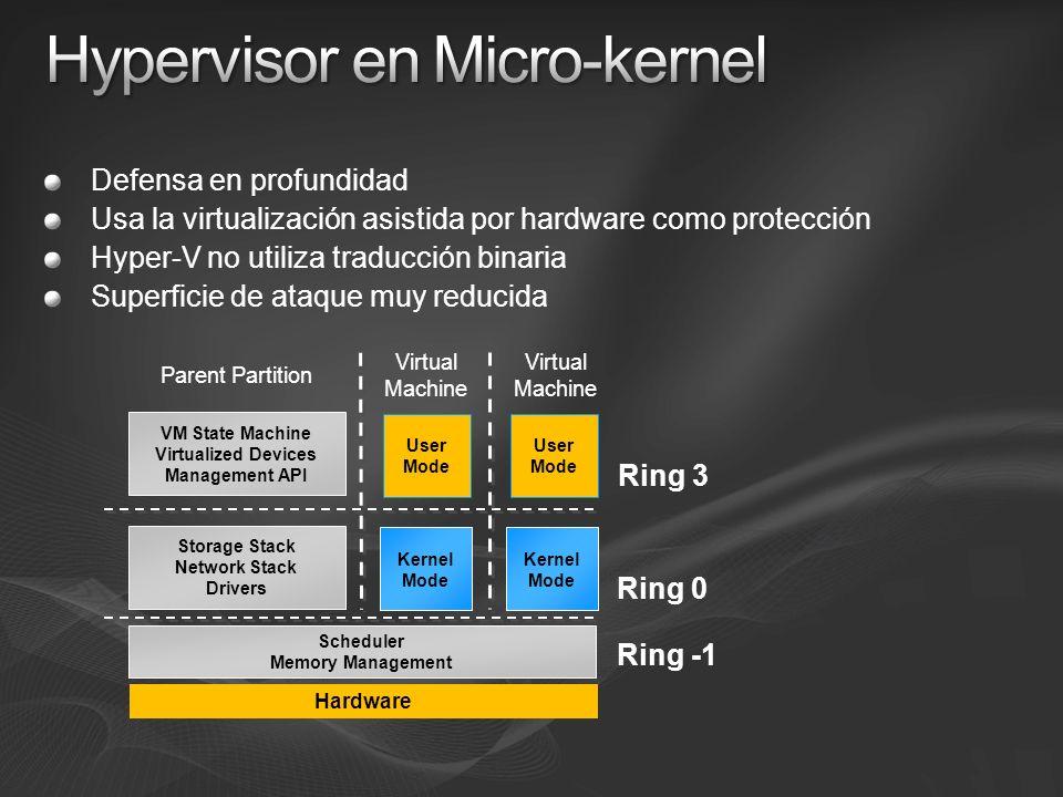 Defensa en profundidad Usa la virtualización asistida por hardware como protección Hyper-V no utiliza traducción binaria Superficie de ataque muy redu