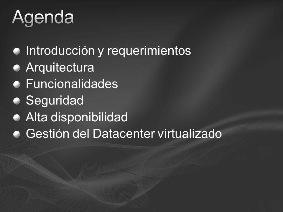 Introducción y requerimientos Arquitectura Funcionalidades Seguridad Alta disponibilidad Gestión del Datacenter virtualizado