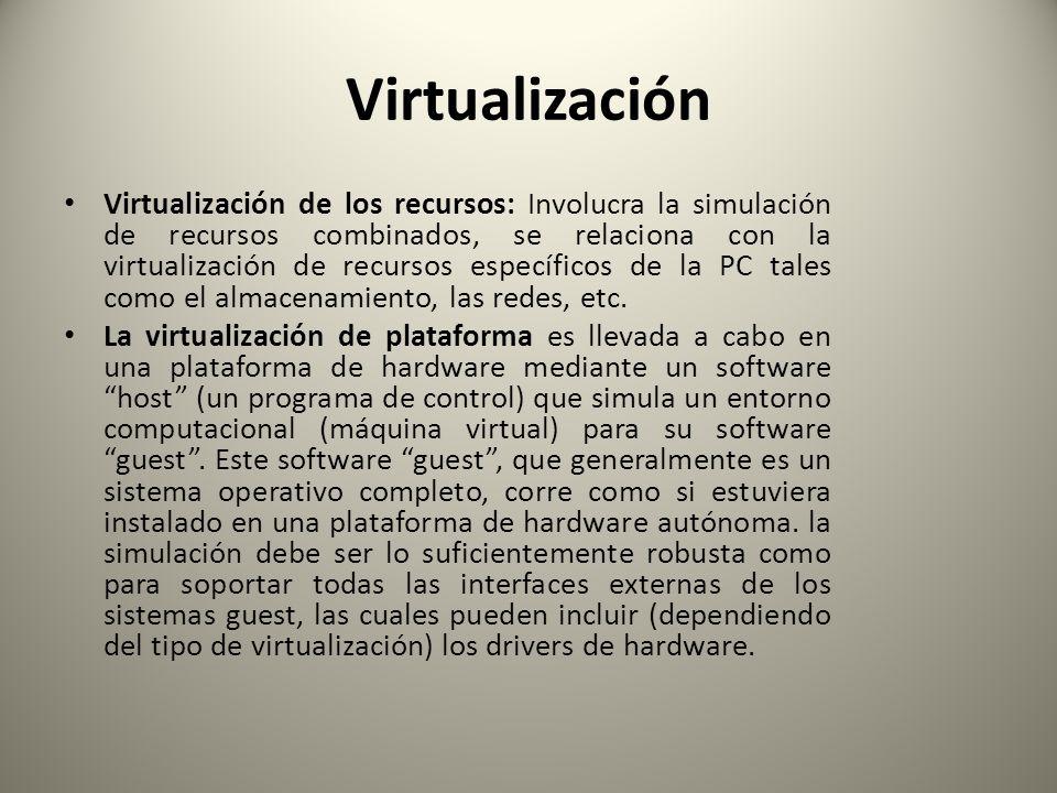 Virtualización Virtualización de los recursos: Involucra la simulación de recursos combinados, se relaciona con la virtualización de recursos específi