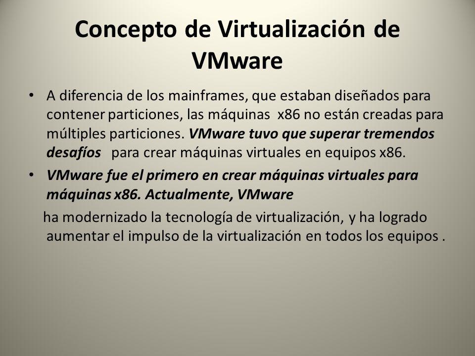 Concepto de Virtualización de VMware A diferencia de los mainframes, que estaban diseñados para contener particiones, las máquinas x86 no están creada