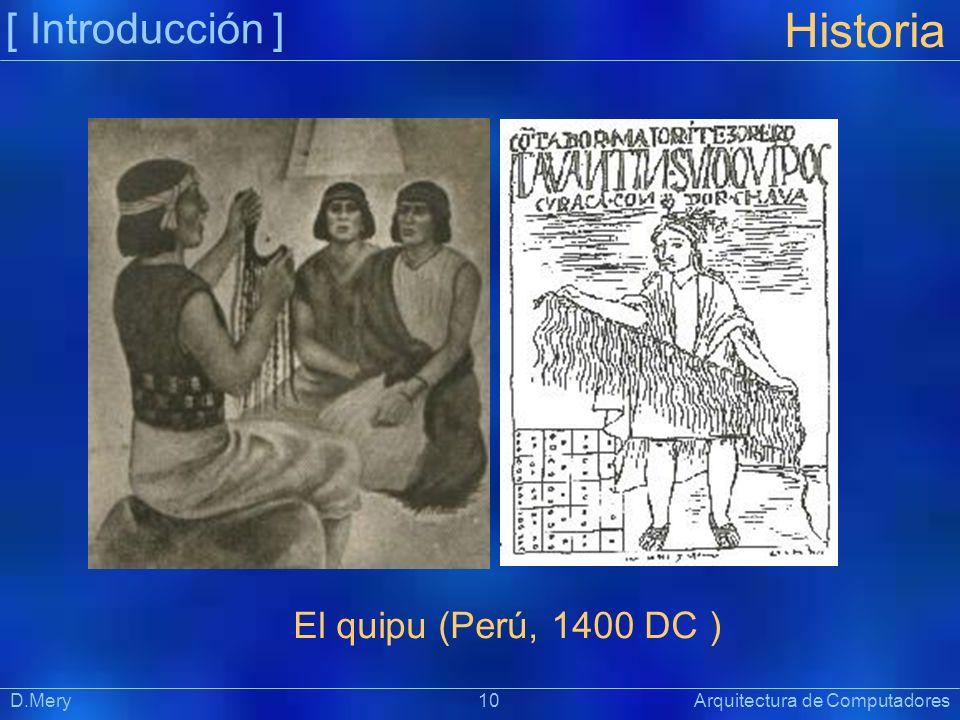 [ Introducción ] Präsentat ion Historia D.Mery 10 Arquitectura de Computadores El quipu (Perú, 1400 DC )