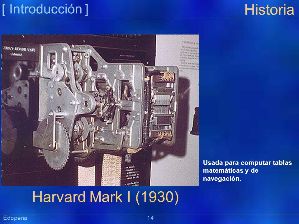 [ Introducción ] Präsentat ion Edopena 14 Historia Harvard Mark I (1930) Usada para computar tablas matemáticas y de navegación.