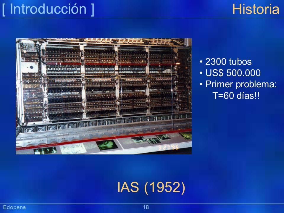 [ Introducción ] Präsentat ion Historia IAS (1952) 2300 tubos US$ 500.000 Primer problema: T=60 días!! Edopena 18