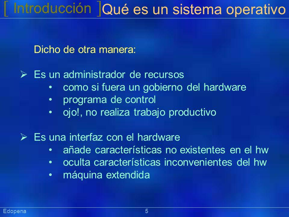 [ Introducción ] Präsentat ion Edopena 5 Qué es un sistema operativo Dicho de otra manera: Es un administrador de recursos como si fuera un gobierno d