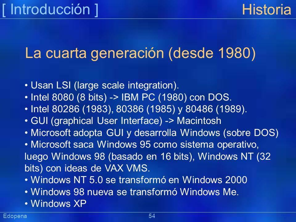 [ Introducción ] Präsentat ion Edopena 54 Historia La cuarta generación (desde 1980) Usan LSI (large scale integration). Intel 8080 (8 bits) -> IBM PC