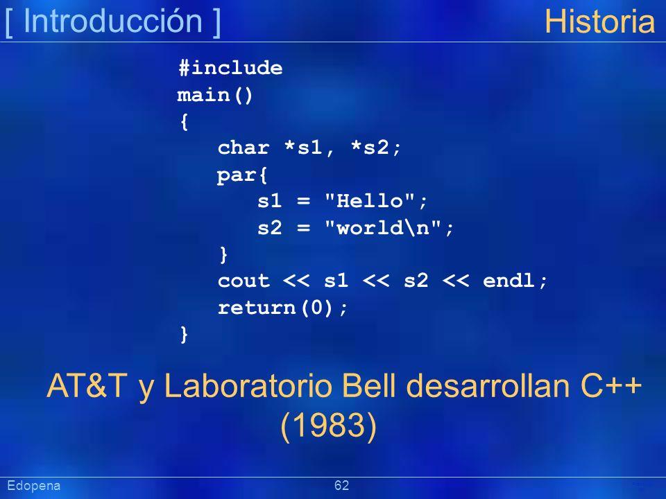[ Introducción ] Präsentat ion Historia AT&T y Laboratorio Bell desarrollan C++ (1983) #include main() { char *s1, *s2; par{ s1 =