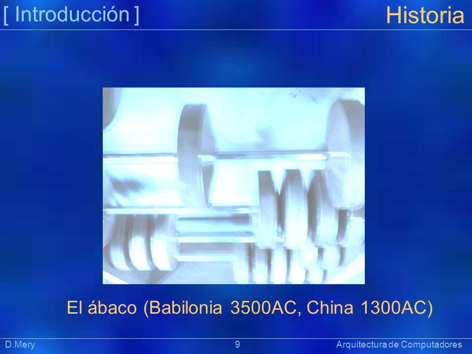 [ Introducción ] Präsentat ion Historia D.Mery 9 Arquitectura de Computadores El ábaco (Babilonia 3500AC, China 1300AC)