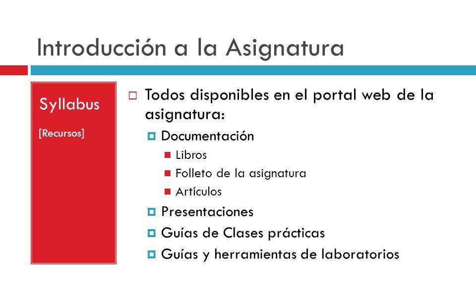 Introducción a la Asignatura Syllabus [Recursos] Todos disponibles en el portal web de la asignatura: Documentación Libros Folleto de la asignatura Ar
