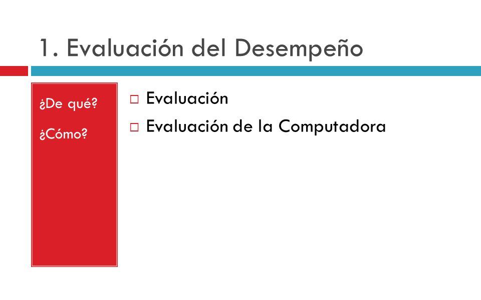 1. Evaluación del Desempeño ¿De qué? ¿Cómo? Evaluación Evaluación de la Computadora