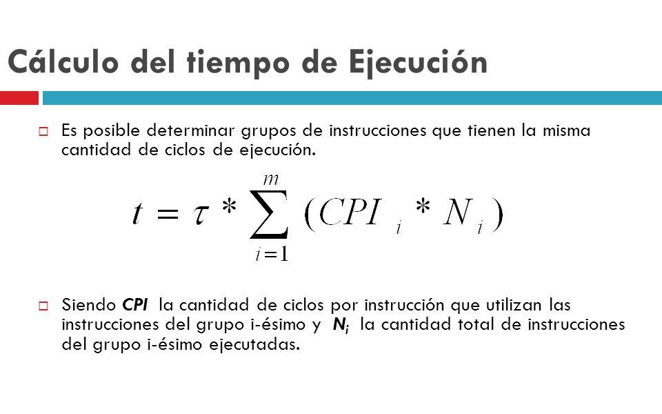 Cálculo del tiempo de Ejecución Es posible determinar grupos de instrucciones que tienen la misma cantidad de ciclos de ejecución. Siendo CPI la canti