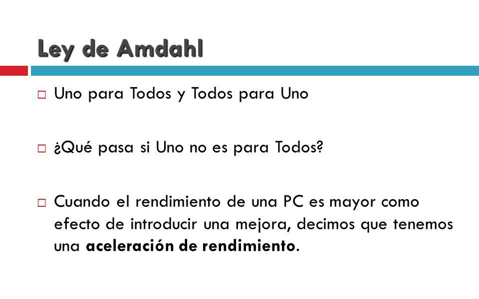 Ley de Amdahl Uno para Todos y Todos para Uno ¿Qué pasa si Uno no es para Todos? Cuando el rendimiento de una PC es mayor como efecto de introducir un