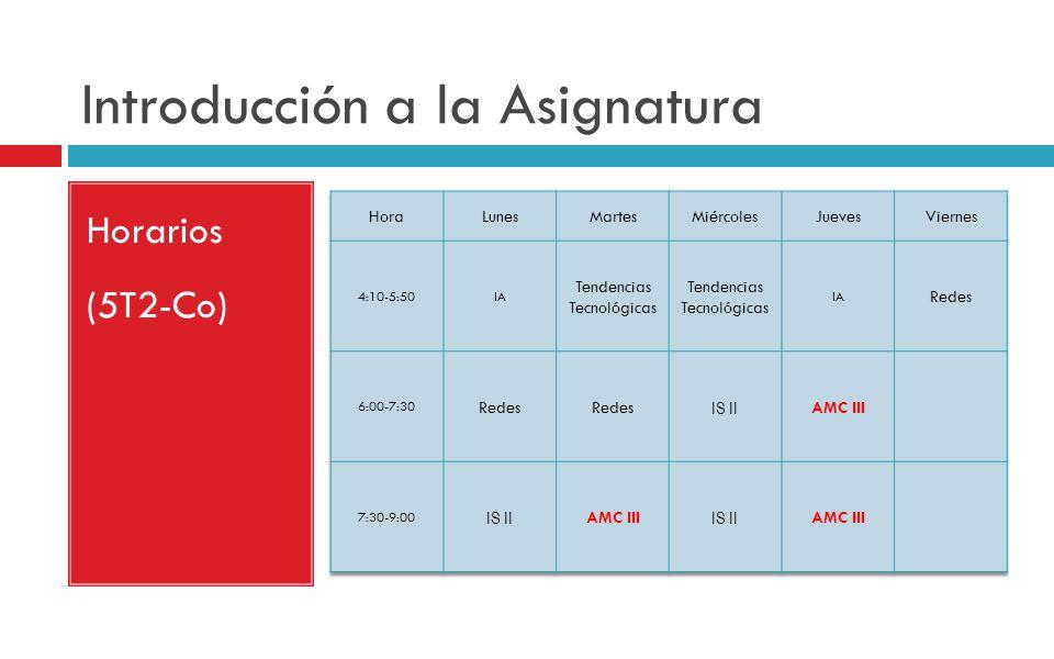Introducción a la Asignatura Horarios (5T2-Co)