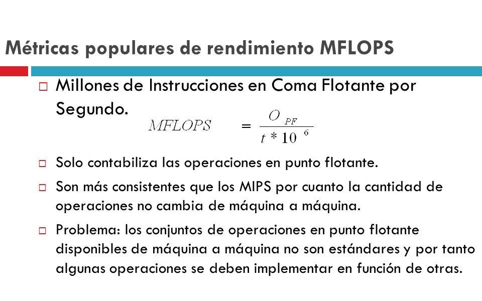Métricas populares de rendimiento MFLOPS Millones de Instrucciones en Coma Flotante por Segundo. Solo contabiliza las operaciones en punto flotante. S