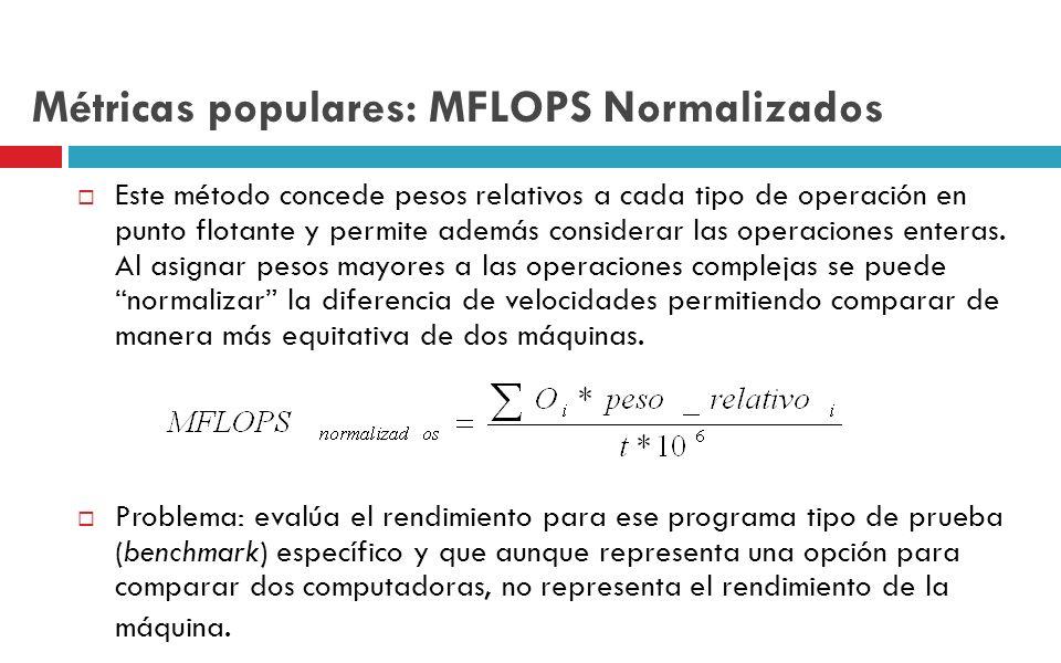 Métricas populares: MFLOPS Normalizados Este método concede pesos relativos a cada tipo de operación en punto flotante y permite además considerar las