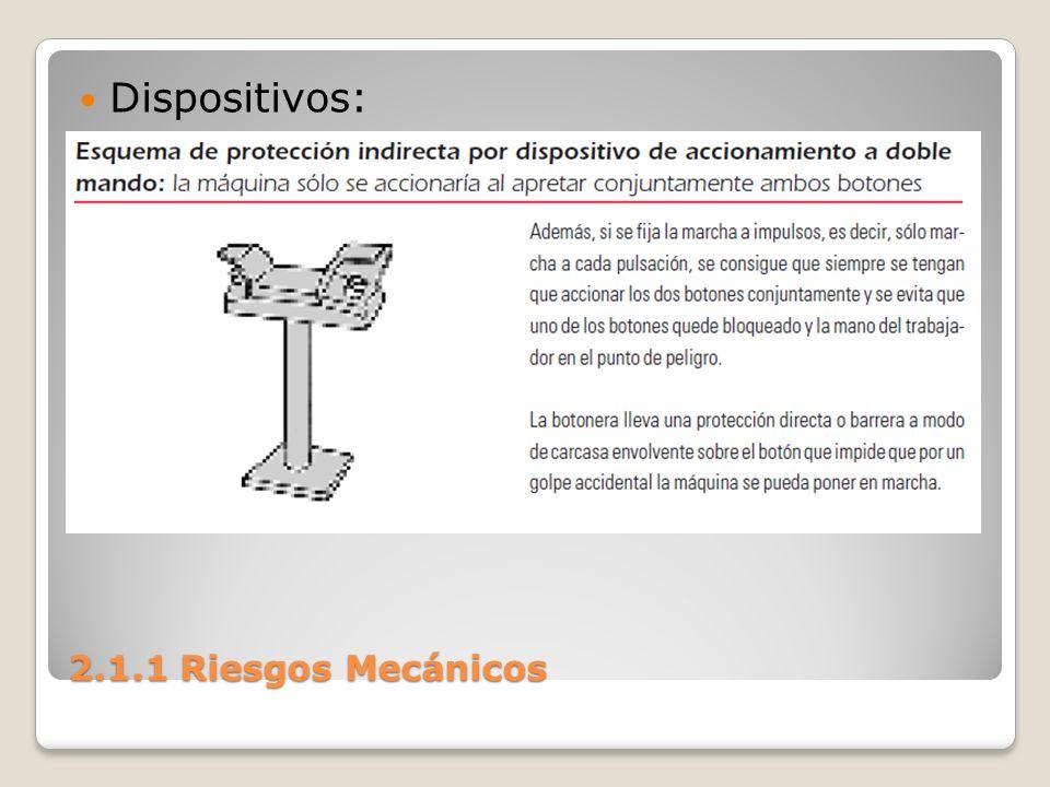 2.1.1 Riesgos Mecánicos Demando a dos manos: se utiliza sobre todo en prensas, cizallas, guillotinas, etc., donde hay riesgo de atrapamiento.