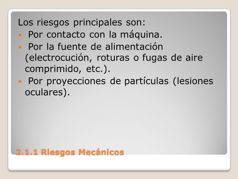 2.1.1 Riesgos Mecánicos Los riesgos principales son: Por contacto con la máquina. Por la fuente de alimentación (electrocución, roturas o fugas de air