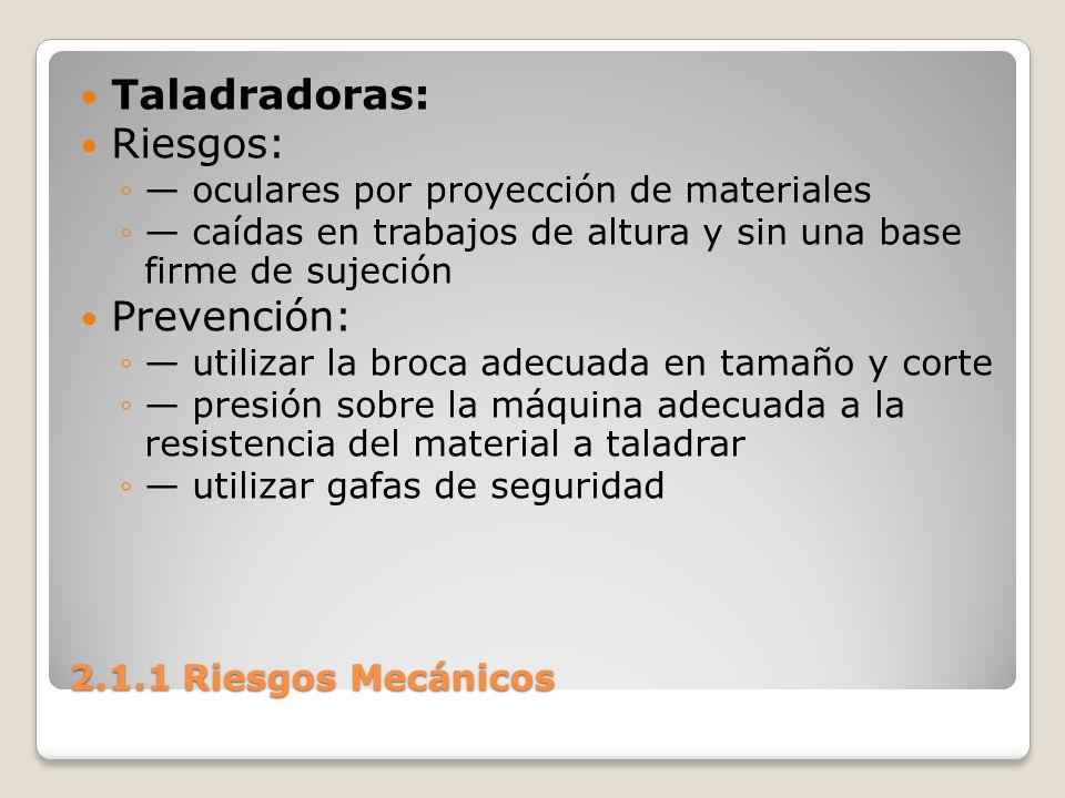 2.1.1 Riesgos Mecánicos Taladradoras: Riesgos: oculares por proyección de materiales caídas en trabajos de altura y sin una base firme de sujeción Pre