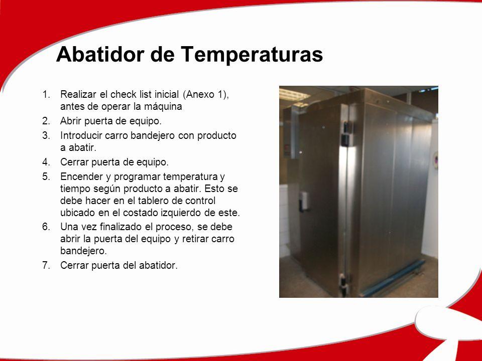 Abatidor de Temperaturas 1.Realizar el check list inicial (Anexo 1), antes de operar la máquina 2.Abrir puerta de equipo. 3.Introducir carro bandejero